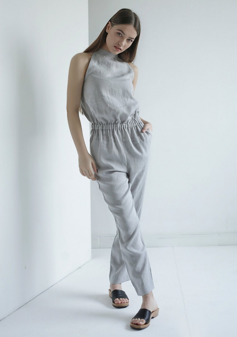 Linen high neck jumpsuit Mila 1