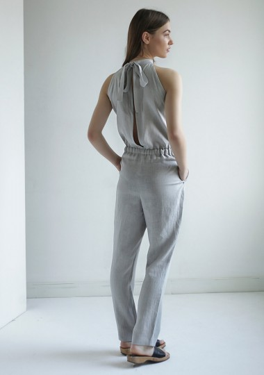Linen high neck jumpsuit Mila