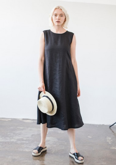 Linen a line dress Chloe in black