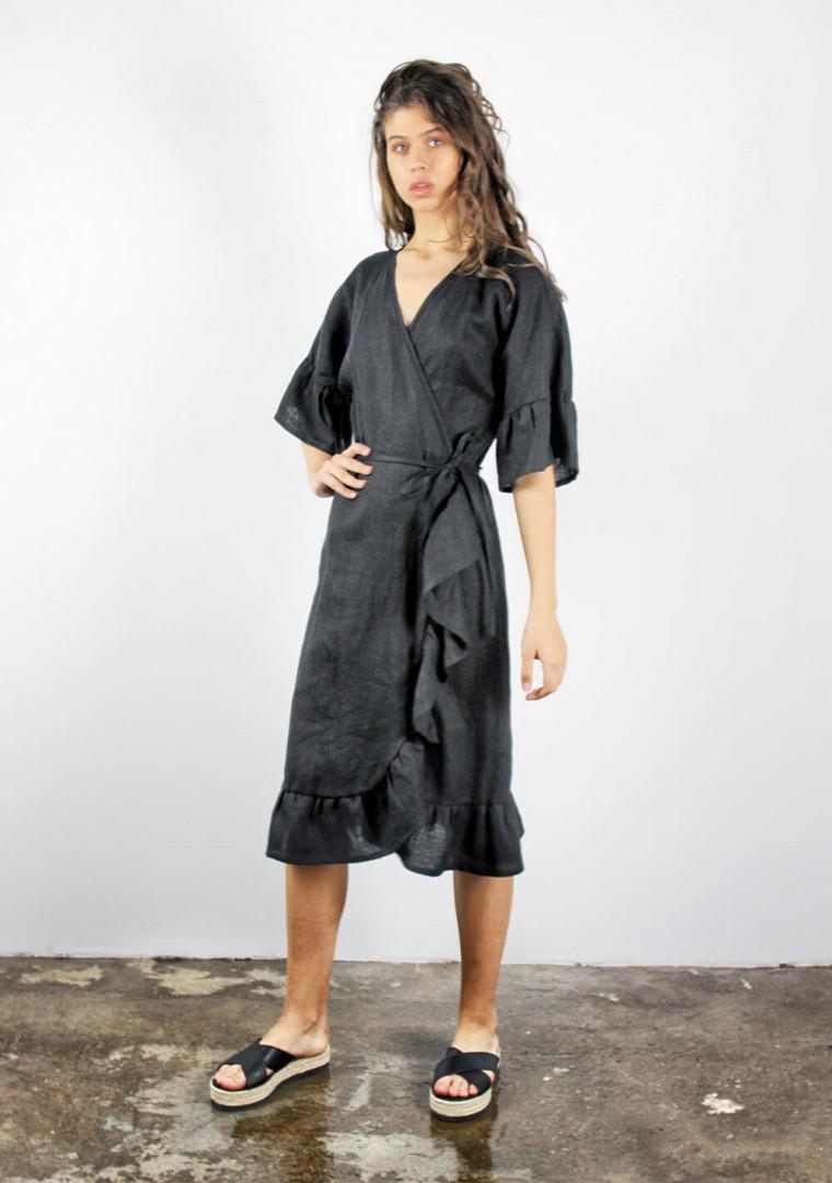 Linen wrap dress Reina 6