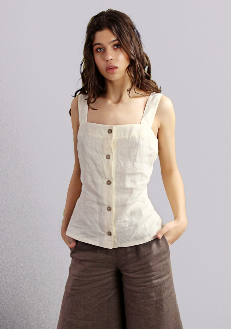 Button front linen cami top Ava 7