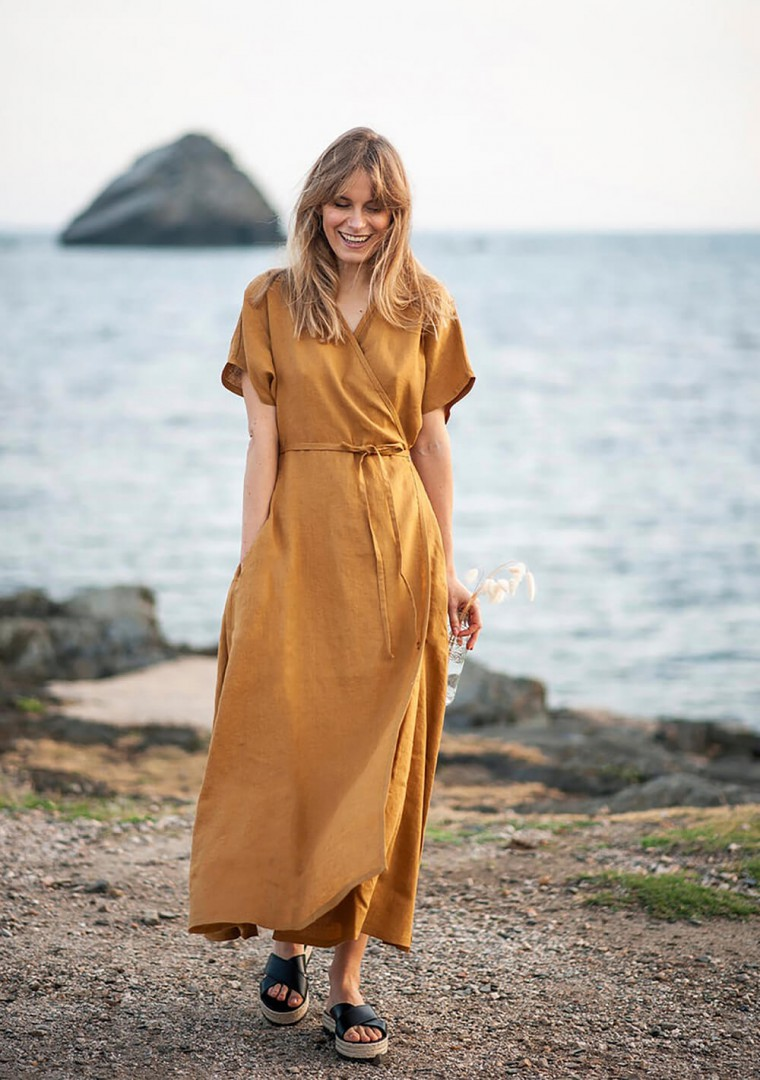 Linen maxi wrap dress Delilah 8