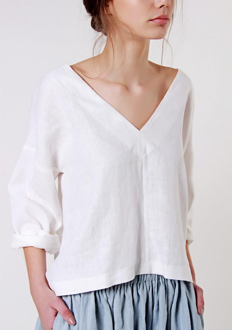 Linen V neck top Pandora with long sleeves 6