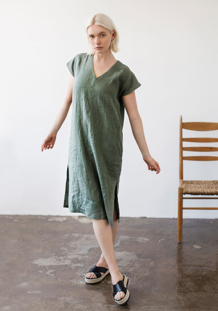Linen V neck tunic dress Cordelia 1