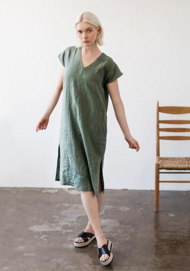 Linen V neck tunic dress Cordelia