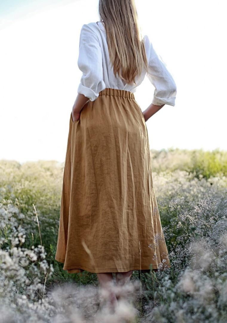 Linen skirt Florence in mustard 7