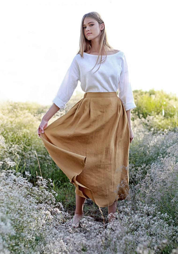 Linen skirt Florence in mustard 3