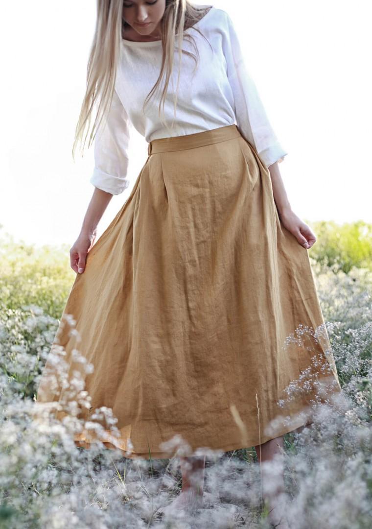 Linen skirt Florence in mustard 5