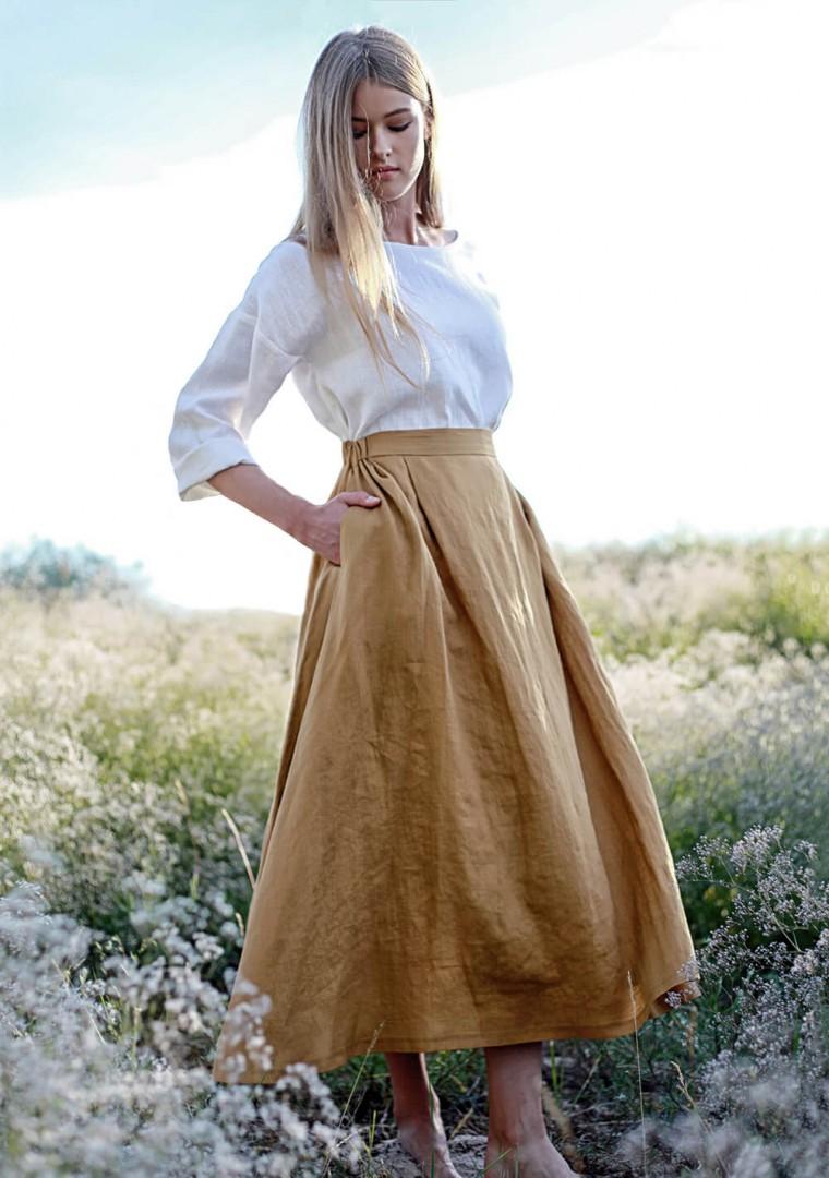 Linen skirt Florence in mustard 1