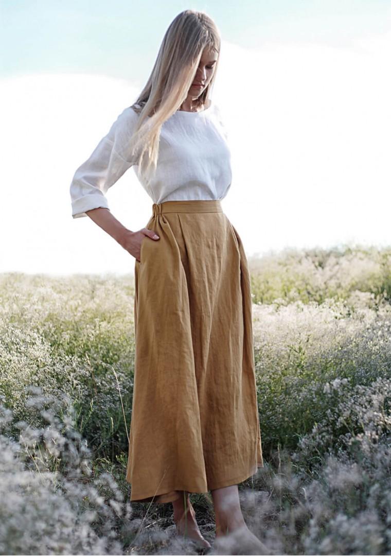Linen skirt Florence in mustard 4
