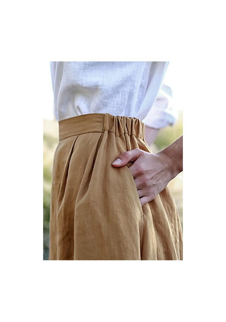 Linen skirt Florence in mustard 6