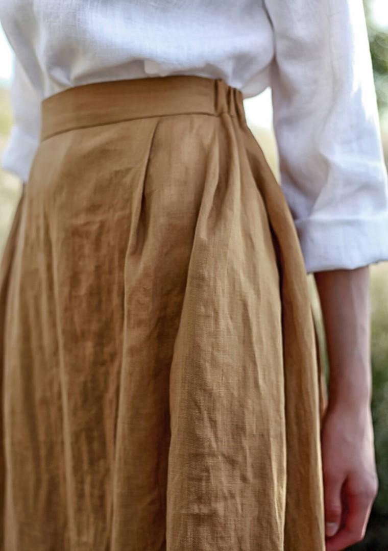 Linen skirt Florence in mustard 2