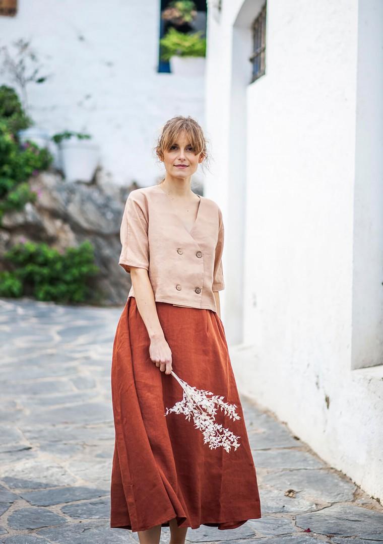 Linen skirt Florence in mustard 8