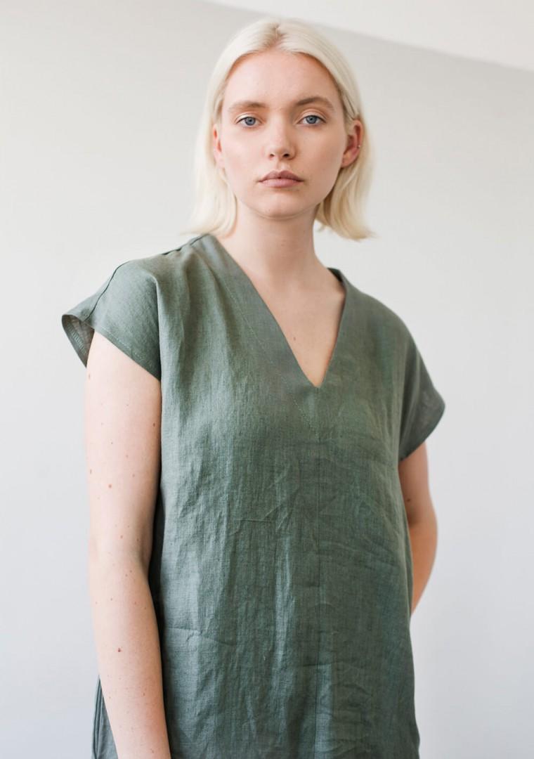 Linen V neck tunic dress Cordelia 4
