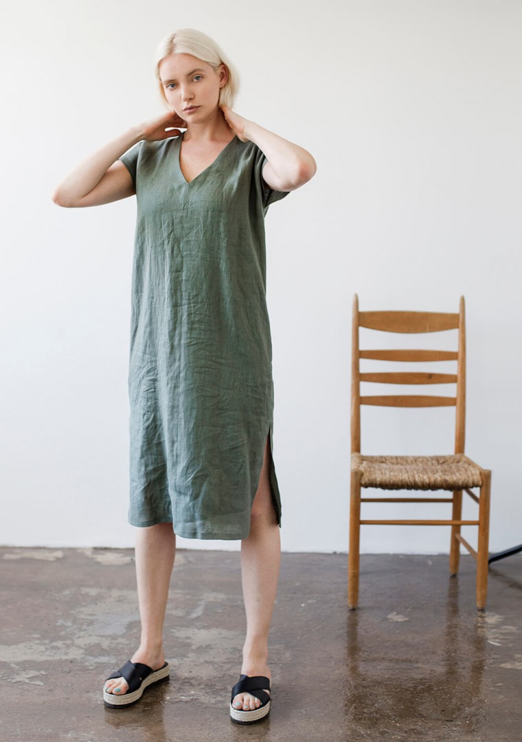 Linen V neck tunic dress Cordelia 5