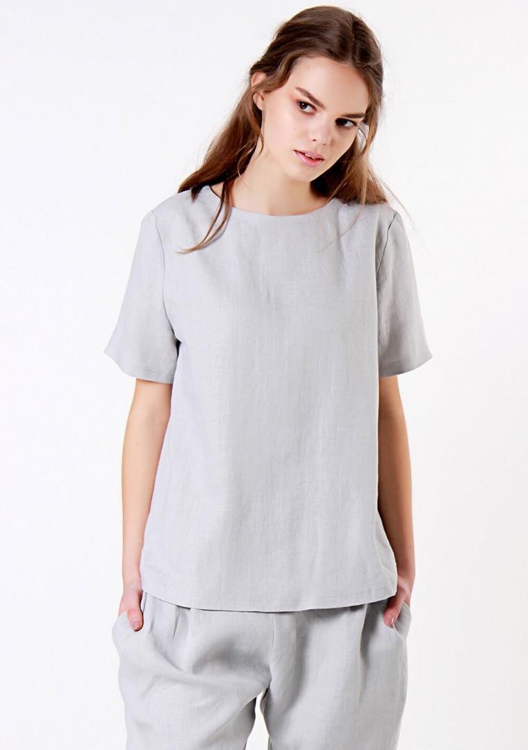 Linen T-shirt Yuna in optic white 5