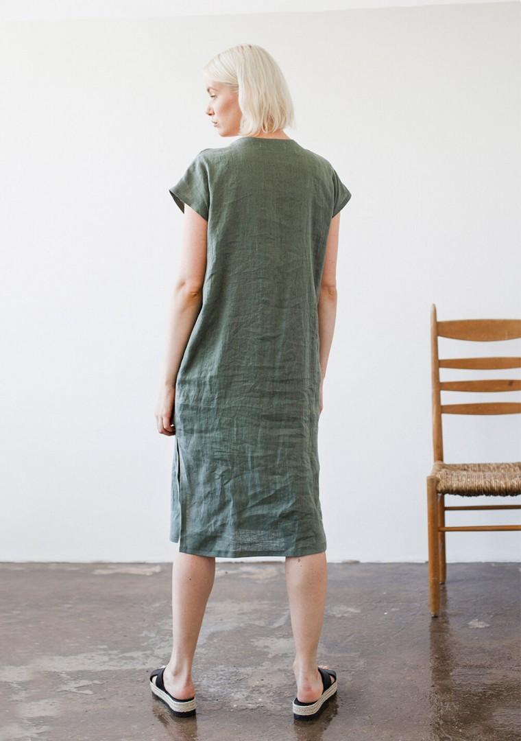 Linen V neck tunic dress Cordelia 6