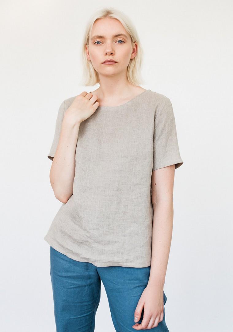 Linen T-shirt Yuna in optic white 6