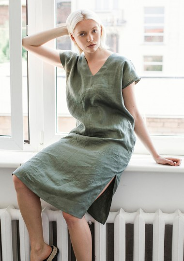 Linen v neck tunic dress Cordelia