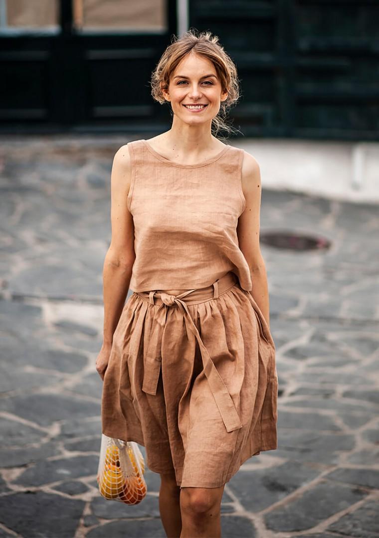Linen skirt Sage midi 1