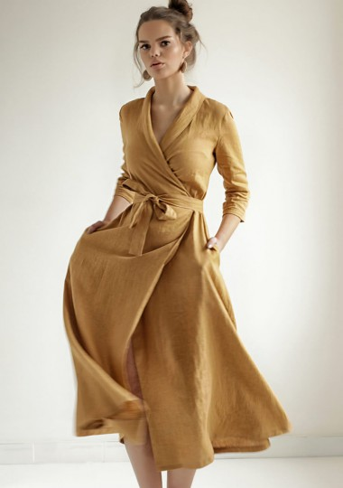 Mustard linen wrap dress Marlena