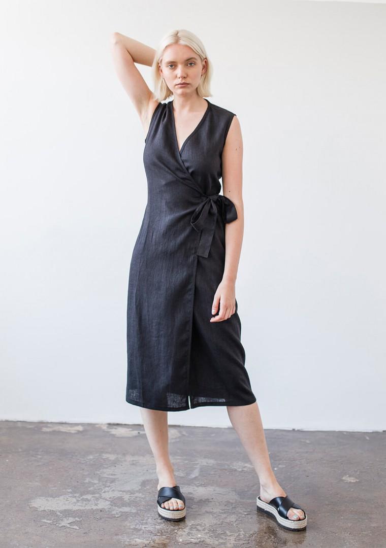 Linen wrap dress Lydia in mustard 7