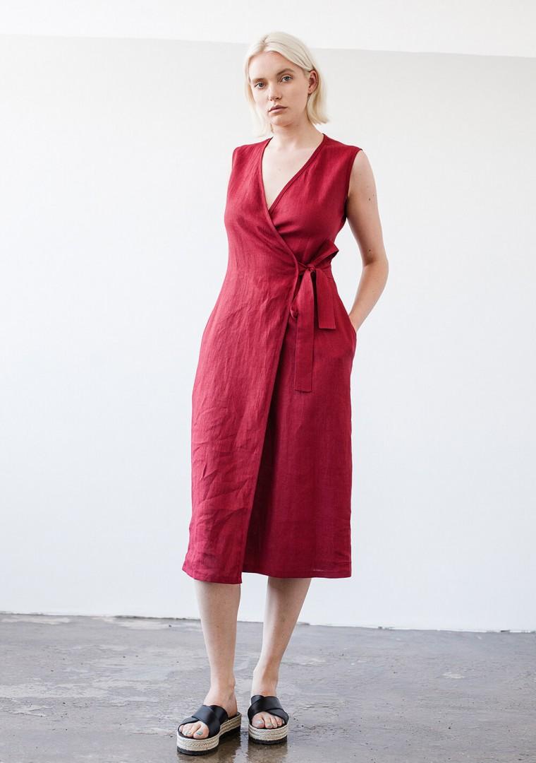 Linen wrap dress Lydia in mustard 8