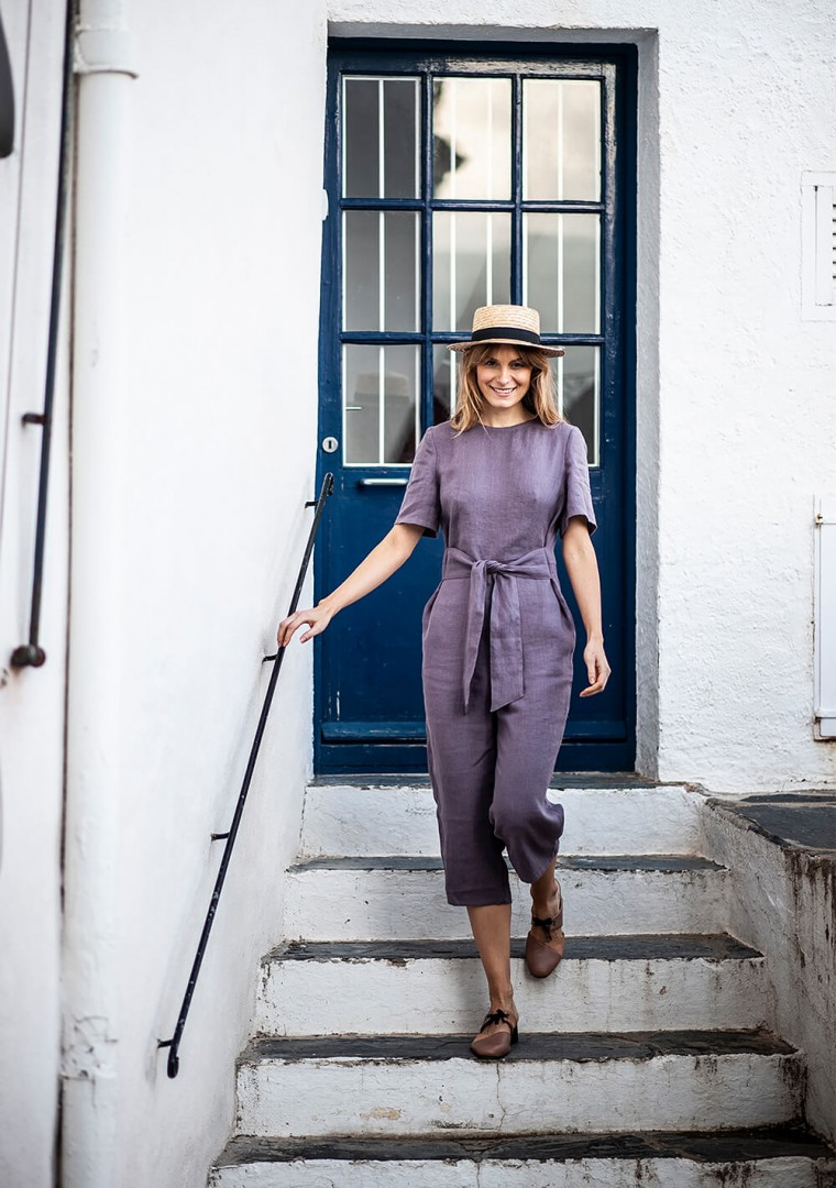 Linen jumpsuit Avery in teal 8