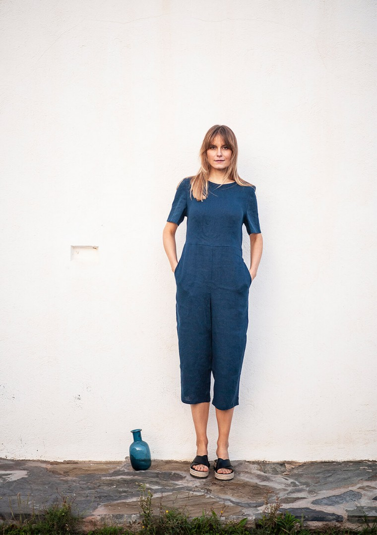 Linen jumpsuit Avery in teal 9