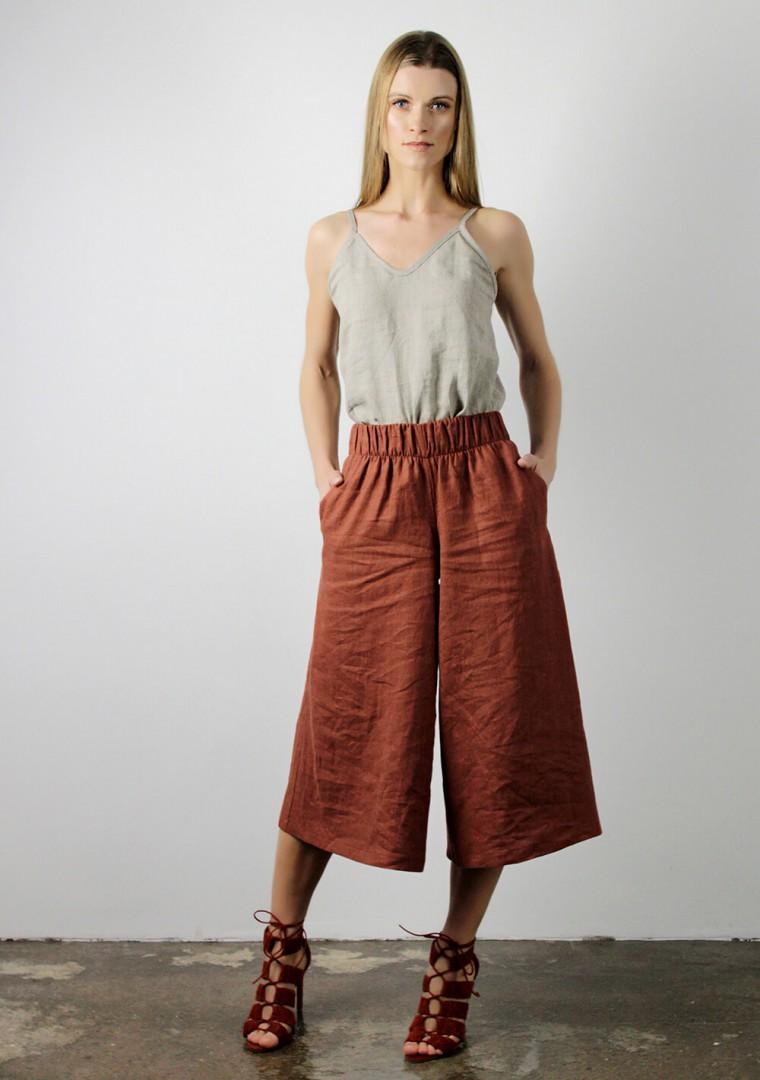 Linen culotte pants Sienna 6