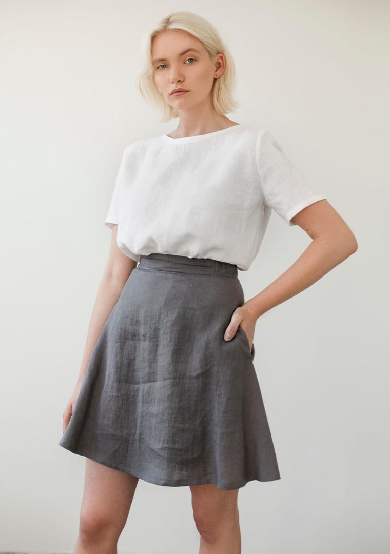 Linen mini skirt Adelle in mustard 6