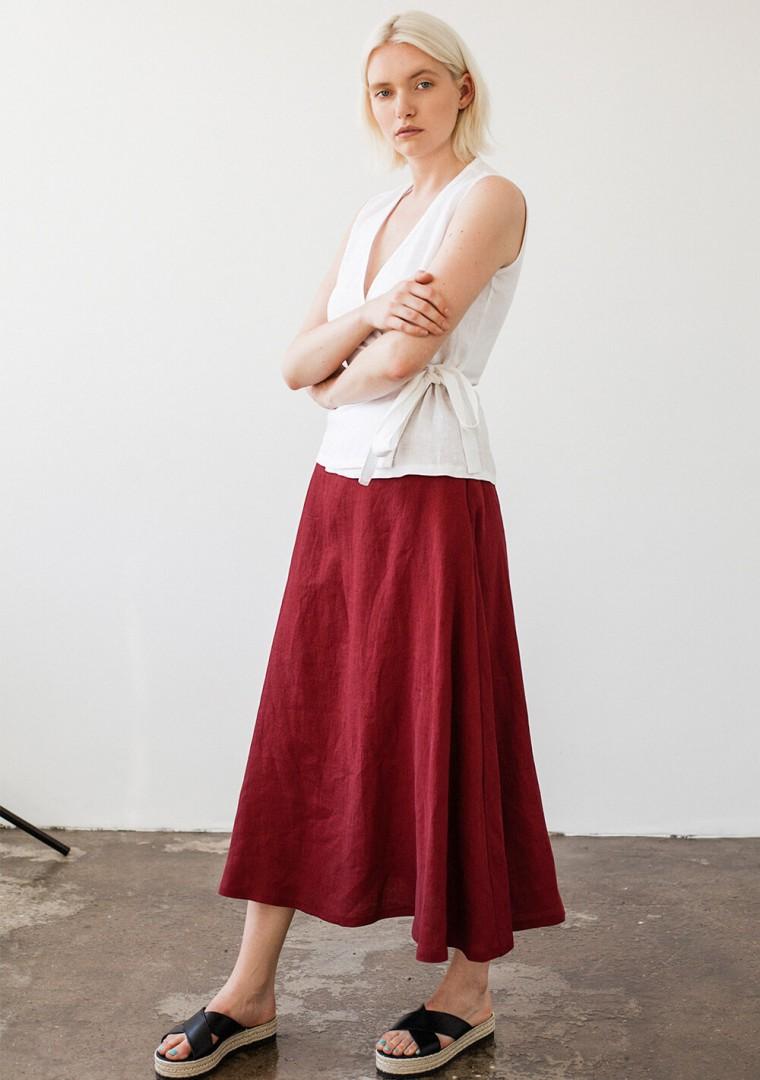 Ankle length linen skirt India 8