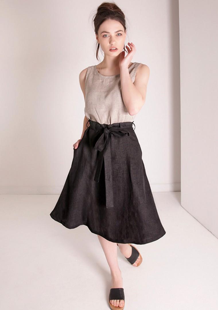 Linen midi skirt with belt Reign 5