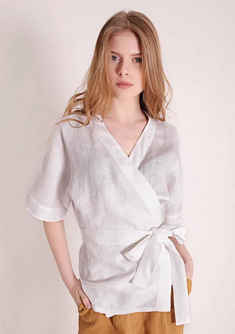 Short sleeve linen wrap top Denise 7
