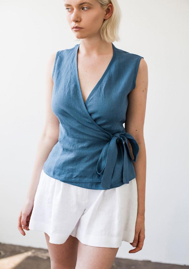 Sleeveless linen wrap top Lydia 6