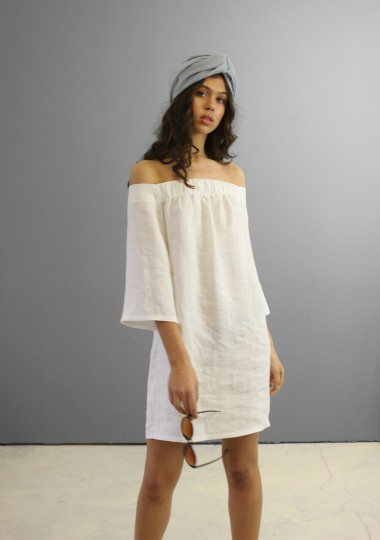 Linen off shoulder dress Bianca