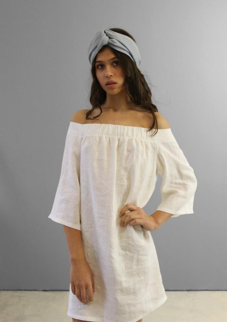 Off shoulder linen dress Bianca 7