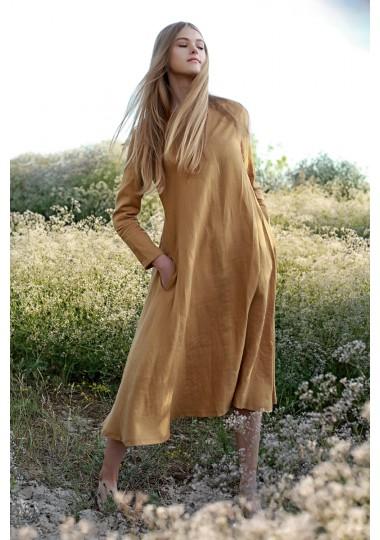 Mustard linen A line dress Elaine
