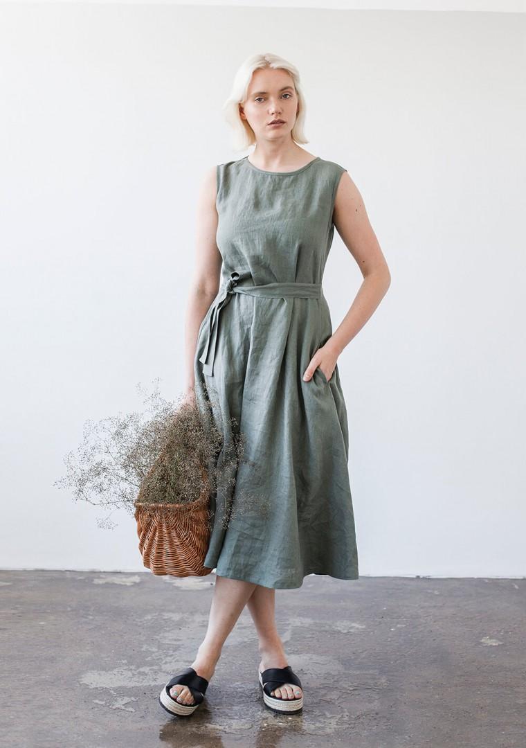 Linen dress with belt Chloe 2