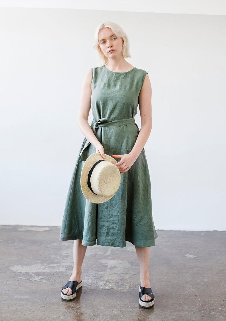 Linen dress with belt Chloe 1
