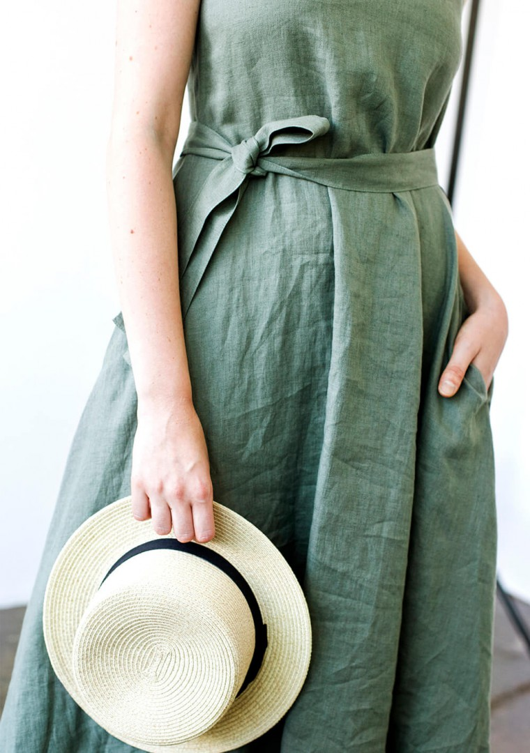 Linen dress with belt Chloe 4