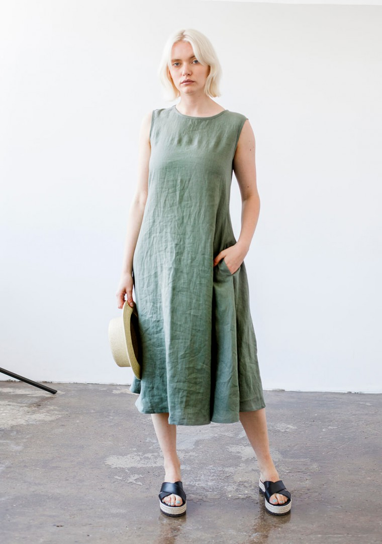 Linen dress with belt Chloe 3