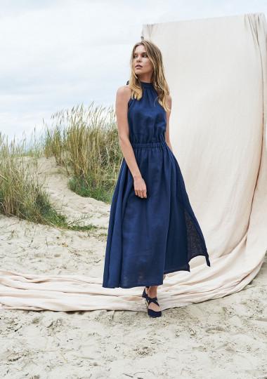 Maxi linen high neck dress Alicia