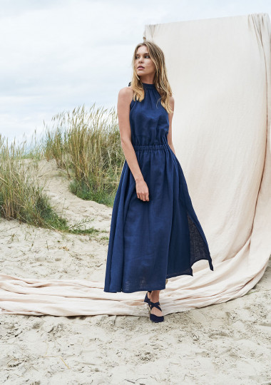 Maxi linen high neck dress Alicia in Navy