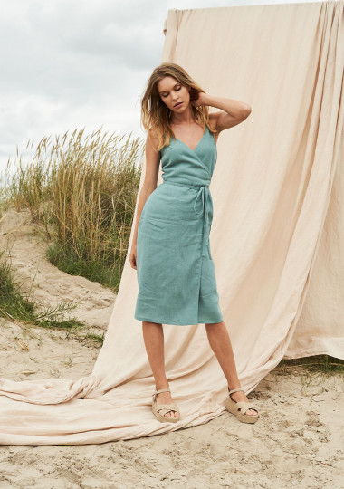 Linen wrap dress with spaghetti straps Eden