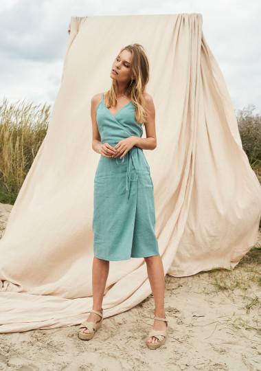 Linen wrap dress with spaghetti straps Eden