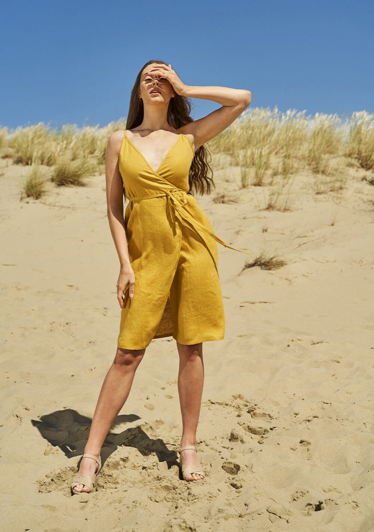 Linen wrap dress with spaghetti straps Eden 3