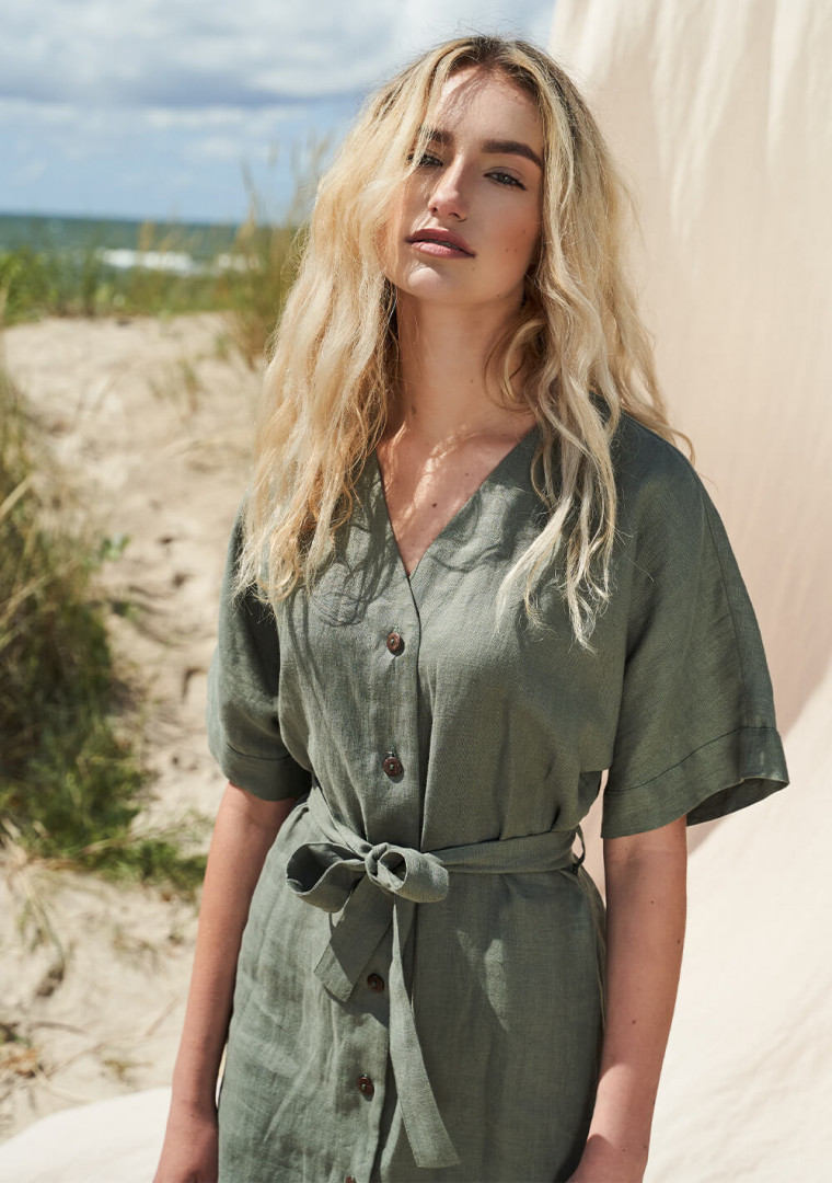 Linen button front dress with kimono sleeves Harper 1