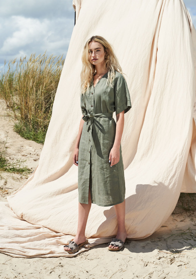 Linen button front dress with kimono sleeves Harper 3