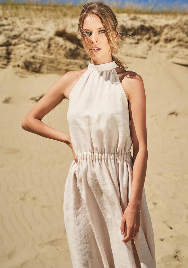 Linen high neck dress Estelle 2